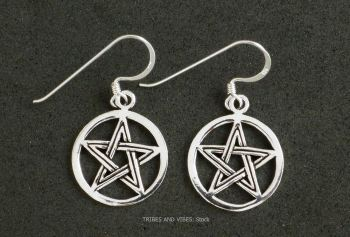 Pentagram Pentacle Earrings Sterling Silver