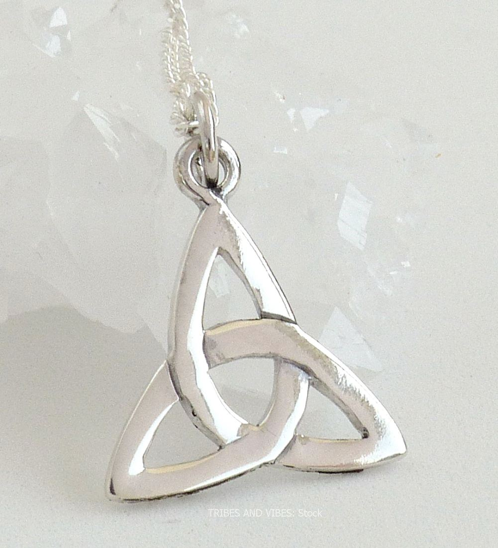 Triquetra Celtic Trinity Knot Necklace, Sterling Silver (stock)