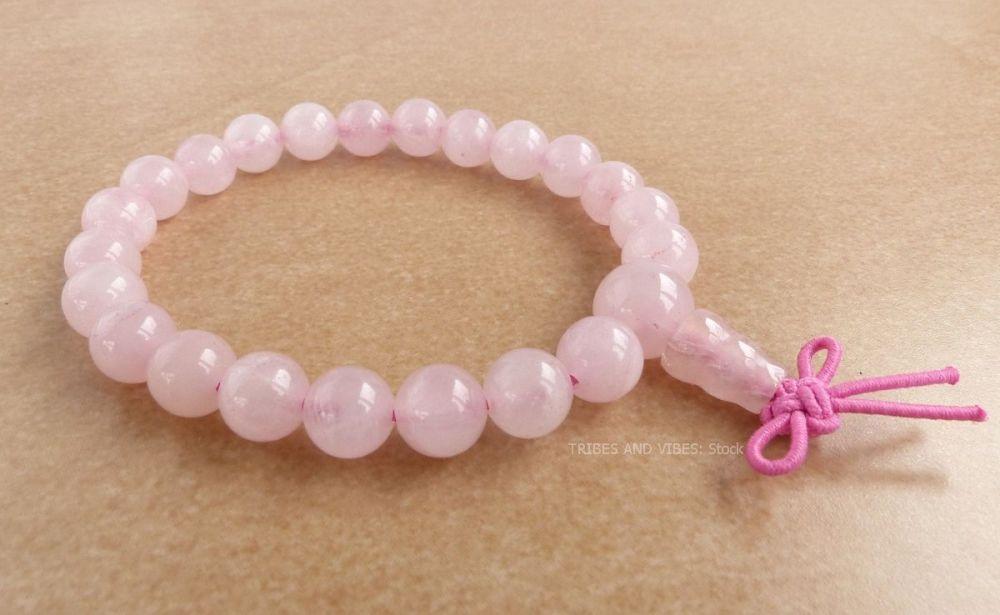 Rose Quartz Bracelet Crystal Power Beads Mala fancy knot (stock)