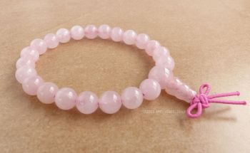 Rose Quartz Bracelet Crystal Power Beads Mala (fancy knot)