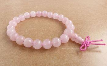 Rose Quartz Bracelet Crystal Power Beads Mala (fancy knot)