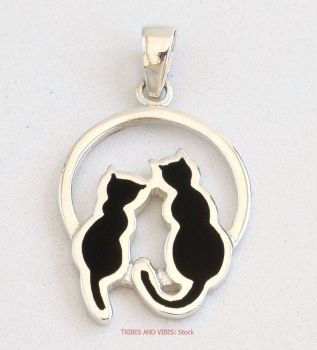 Two Black Cats Pendant Sterling Silver