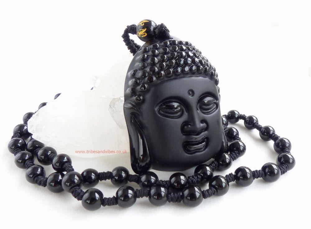 Black Obsidian Buddha beaded Necklace Om Mani Padme Hum Bead (stock)