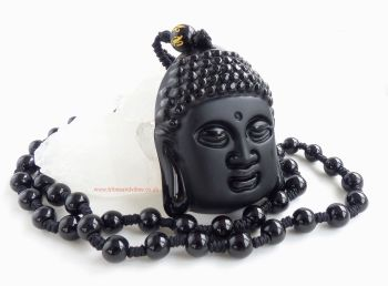 Black Obsidian Buddha Head beaded Necklace Om Mani Padme Hum Bead