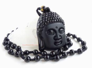 Black Obsidian Buddha beaded Necklace Om Mani Padme Hum Bead