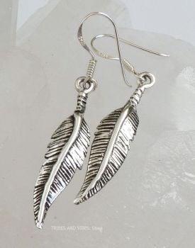 Feather Earrings, 925 Sterling Silver
