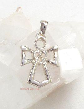 Angel & Celtic Triquetra Heart Pendant Sterling Silver
