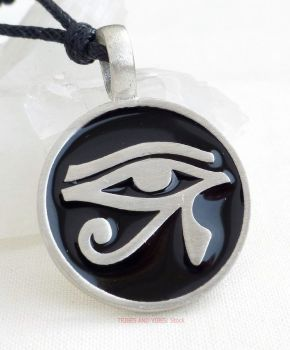 Eye of Horus round Pewter Pendant Necklace
