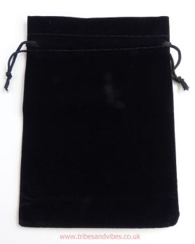 Velvet Black Drawstring Pouch Gift Bag 17cm x 12cm - ideal for Tarot Cards