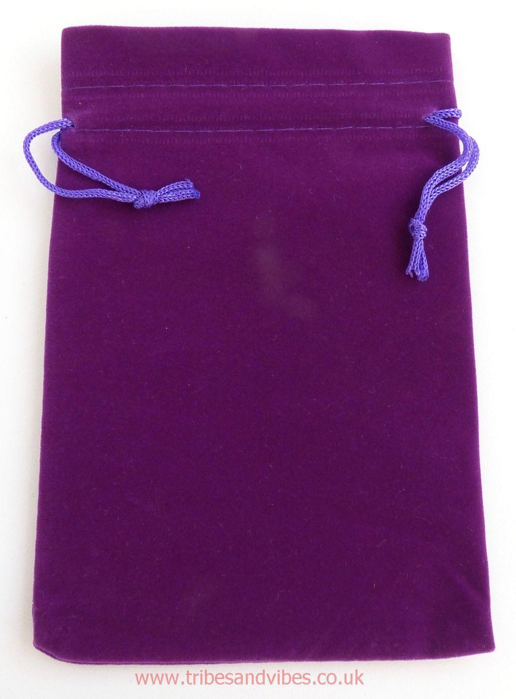 Velvet Purple Drawstring Pouch Gift Bag 17cm x 12cm - ideal for Tarot Cards