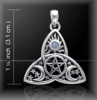 Cosmic Triquetra Triple Moon Pentacle Pendant, by Peter Stone, Sterling Silver & Rainbow Moonstone Crystal