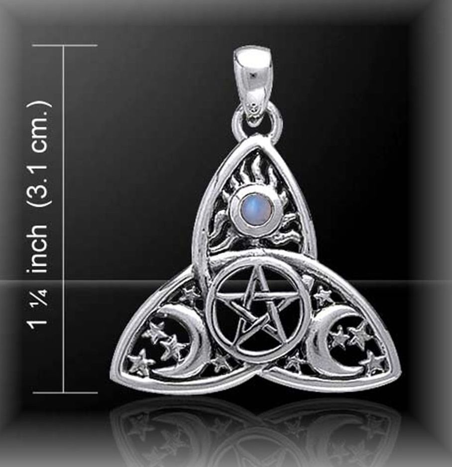 Cosmic Triquetra Triple Moon Pendant, Peter Stone Sterling Silver (stock)