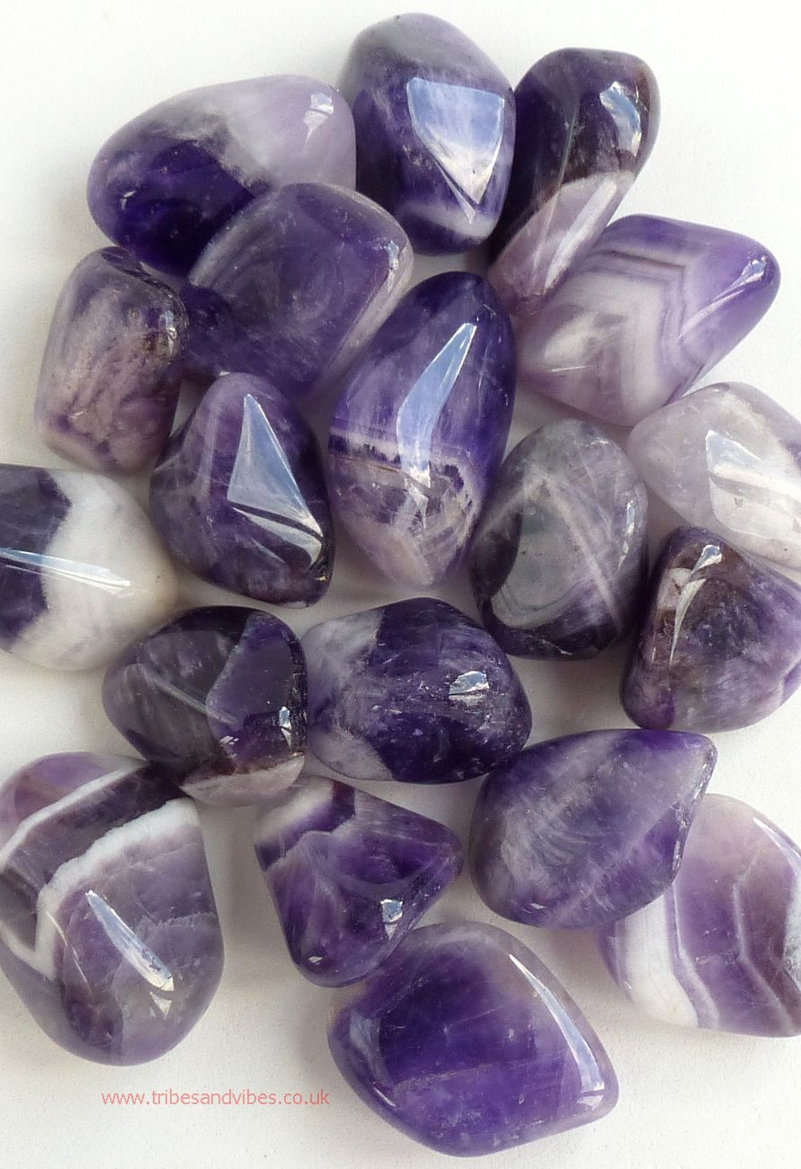 Amethyst (banded) Crystal Tumbled Stone 20-25mm (stock)
