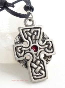 Celtic Cross Knotwork Pendant Necklace (red)