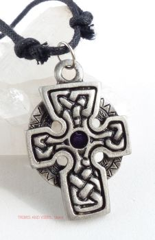 Celtic Cross Knotwork Pendant Necklace (purple)