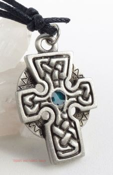 Celtic Cross Knotwork Pendant Necklace (blue)