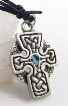 Celtic Cross Knotwork Pendant Necklace (blue)