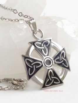 Celtic Cross with Triquetra Trinity Knot Pendant Necklace (Silver Plate) by Sea Gems