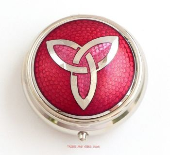 Triquetra Trinity Knot Pill Box by Sea Gems (Red)
