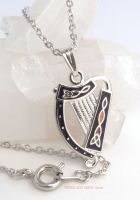 Celtic Harp Coloured Trinity Knot Pendant Necklace (Silver Plate) by Sea Gems