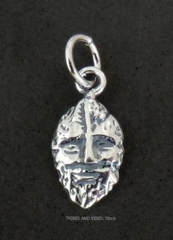 Green Man Charm Sterling Silver