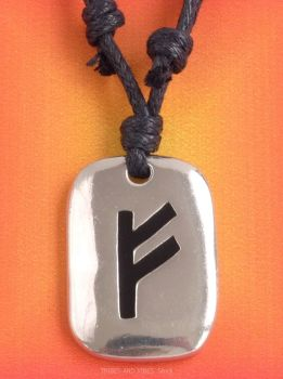 FEHU Furthark Rune Pendant & adjustable Necklace for Wealth