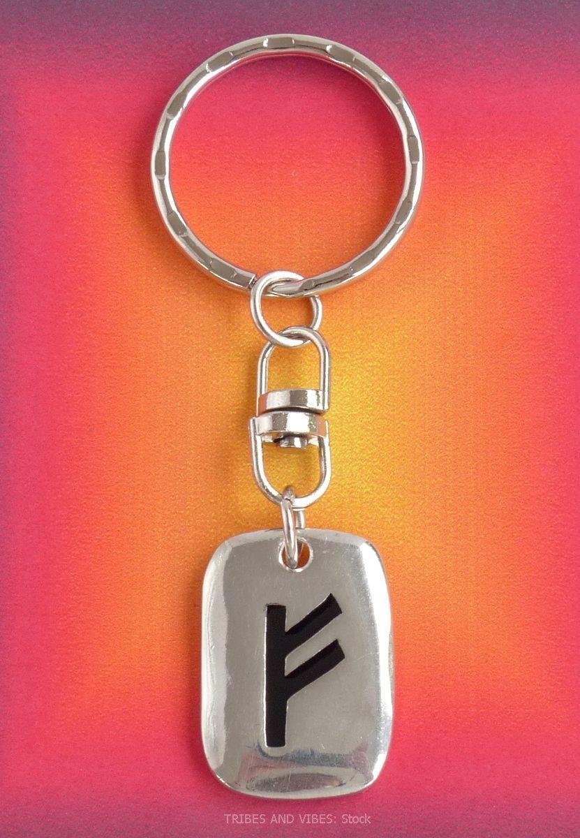 FEHU Futhark Rune Keyring (Key Chain) for Wealth (stock)