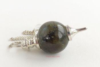 Labradorite Crystal Ball Sephoroton Dowsing Pendulum, Bead & Chain #1