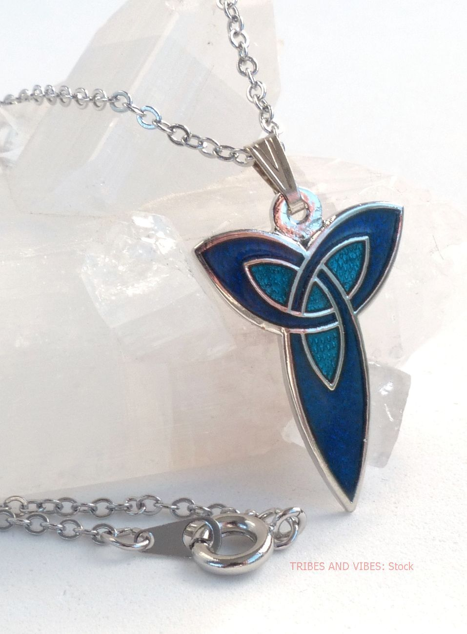 Blue Triquetra Trinity Knot Pendant Silver Plate Necklace by Sea Gems (stoc