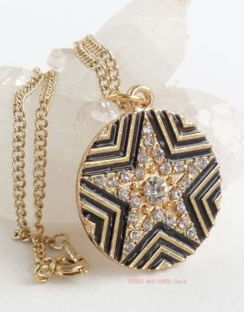 Pentagram 5-point Star Rhinestones Pendant Necklace (Gold Plate)