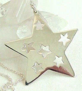 Star Pendant with 42cm Necklace, Sterling Silver