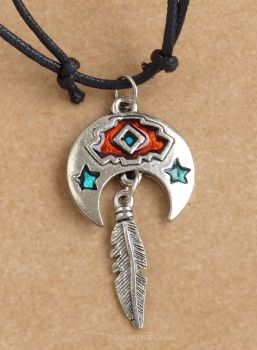 Crescent Moon, Blue Stars & Feather Pendant Necklace 47mm