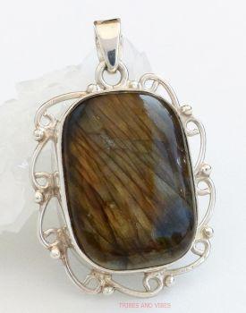 Labradorite Crystal Pendant Sterling Silver 46mm x 22mm (#3)