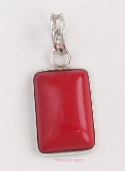 Red Coral Pendant 925 Sterling Silver #1