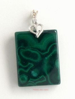 Malachite Crystal Pendant 925 Sterling Silver #4