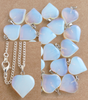 Opalite Heart Pendant + Silver Plated Necklace