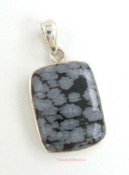 Snowflake Obsidian Crystal 925 Sterling Silver Pendant #3