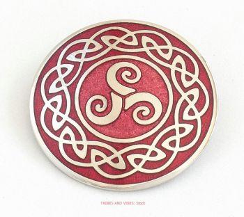Triskele /Triskelion Brooch, Red Crimson