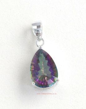 Topaz (Rainbow ) Crystal Gemstone Pendant, 925 Sterling Silver #1
