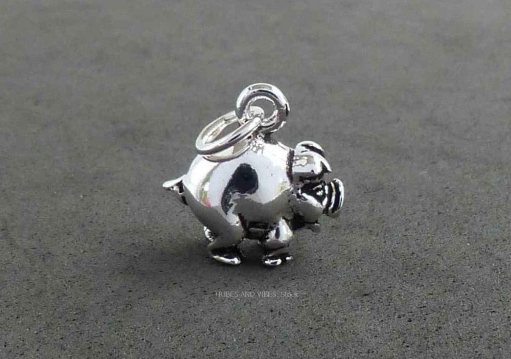 Pig Piggy Piglet Charm Sterling Silver 3D (stock)