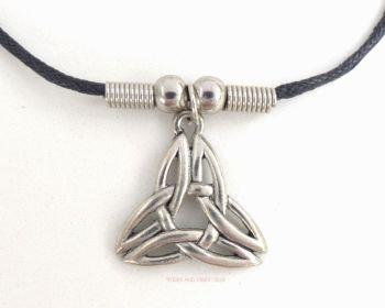 Triquetra Pendant, black cotton & metal beads Necklace