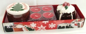 Christmas Pudding & Cake Ceramic T-Light Holders Set & four (4) Red T-Light Candles
