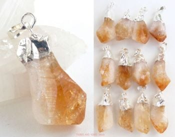Citrine Crystal Chunky Wand Tip Pendant, Silver Plated