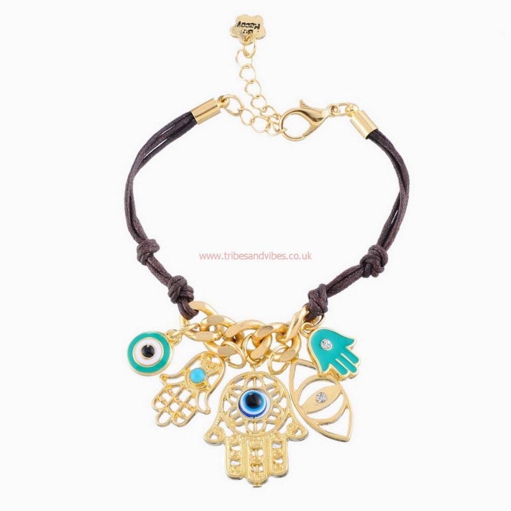 Hamsa Charms Bracelet Hand of Fatima Evil Eye protection (stock)