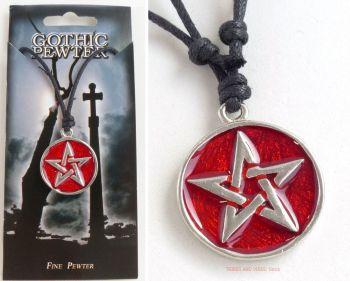 Pentacle Pentagram Pendant Necklace (Red, 25mm)