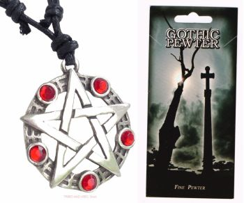 Pentagram Pentacle Pewter Pendant Necklace (red beads)