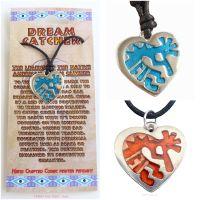 Kokopelli Heart Pendant Necklace (choose Blue or Orange)