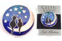 Black Cats Stars Hearts & Moon Brooch by Sea Gems