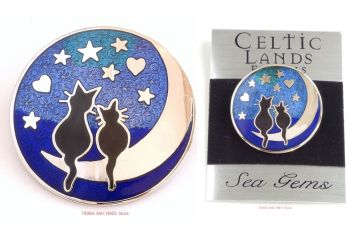 Black Cats Stars Hearts & Moon Brooch by Sea Gems