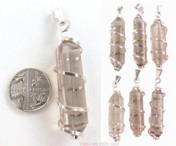 Quartz (Smoky, Smokey) Crystal Pendant spiral wire wrapped, 50mm-55mm